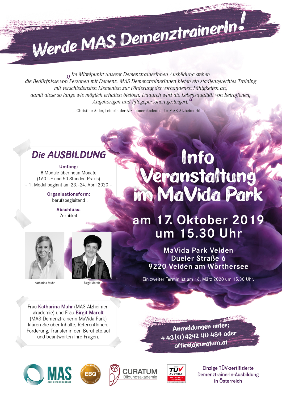 Einladung zur Invormationsveranstaltung MAS DemenztrainerIn